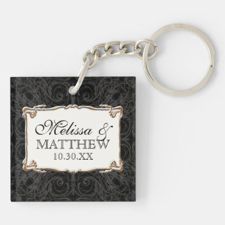 Art Deco Nouveau Lace n Gold Look Personalized Double-Sided Square Acrylic Keychain