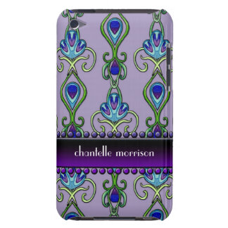 Art Deco Nouveau Peacock Feather Colors Swirl Art Barely There iPod Case