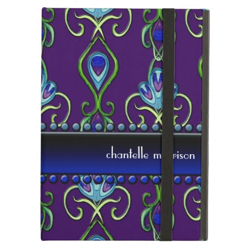 Art Deco Nouveau Peacock Feather Colors Swirl Art iPad Folio Cases