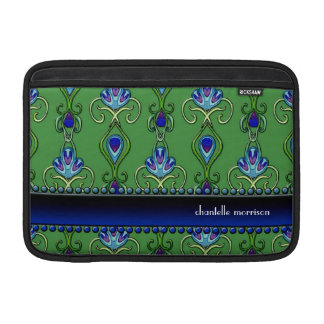 Art Deco Nouveau Peacock Feather Colors Swirl Art MacBook Air Sleeve