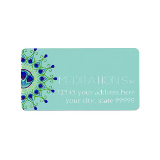 Art Deco Nouveau Peacock Feather Modern Business Address Label