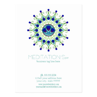 Art Deco Nouveau Peacock Feather Modern Business Postcard