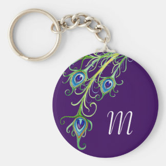 Art Deco Nouveau Style Peacock Feathers Swirl Basic Round Button Keychain