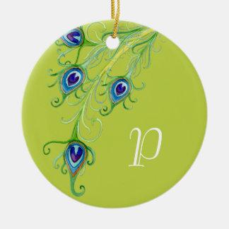 Art Deco Nouveau Style Peacock Feathers Swirl Ceramic Ornament