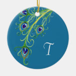 Art Deco Nouveau Style Peacock Feathers Swirl Double-Sided Ceramic Round Christmas Ornament