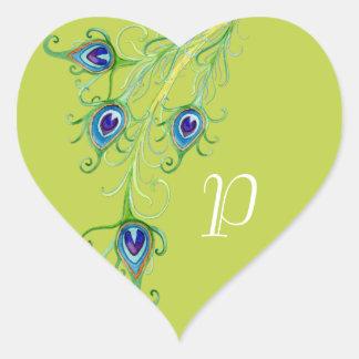 Art Deco Nouveau Style Peacock Feathers Swirl Heart Sticker