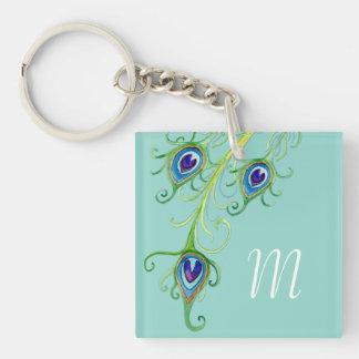 Art Deco Nouveau Style Peacock Feathers Swirl Keychain
