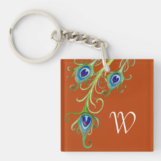 Art Deco Nouveau Style Peacock Feathers Swirl Acrylic Keychain