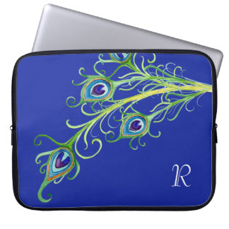 Art Deco Nouveau Style Peacock Feathers Swirl Laptop Computer Sleeves