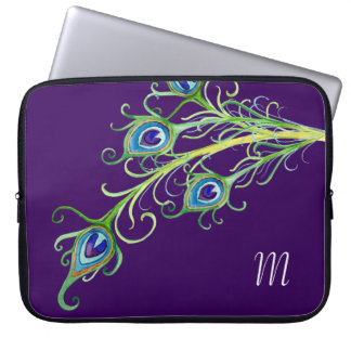 Art Deco Nouveau Style Peacock Feathers Swirl Laptop Sleeves