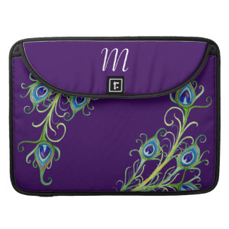 Art Deco Nouveau Style Peacock Feathers Swirl MacBook Pro Sleeve