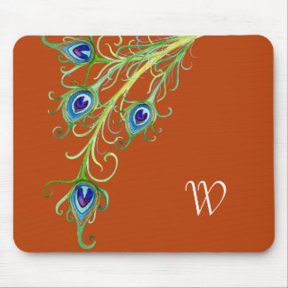 Art Deco Nouveau Style Peacock Feathers Swirl Mouse Pads