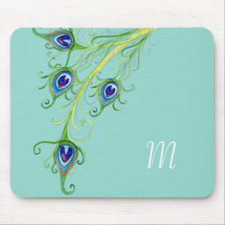 Art Deco Nouveau Style Peacock Feathers Swirl Mousepads