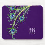 Art Deco Nouveau Style Peacock Feathers Swirl Mouse Pad