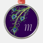 Art Deco Nouveau Style Peacock Feathers Swirl Christmas Ornament