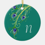 Art Deco Nouveau Style Peacock Feathers Swirl Christmas Tree Ornament