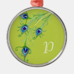 Art Deco Nouveau Style Peacock Feathers Swirl Round Metal Christmas Ornament