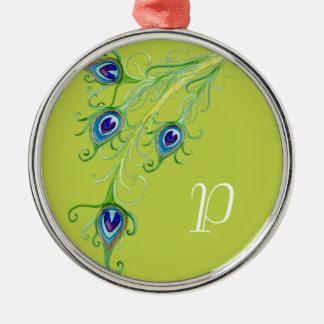 Art Deco Nouveau Style Peacock Feathers Swirl Christmas Tree Ornaments