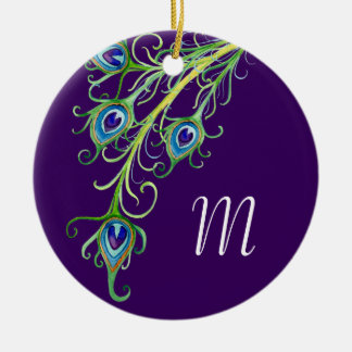 Art Deco Nouveau Style Peacock Feathers Swirl Christmas Tree Ornament
