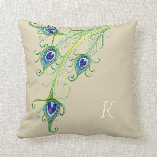 Art Deco Nouveau Style Peacock Feathers Swirl Pillows