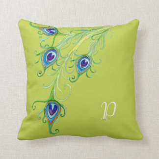 Art Deco Nouveau Style Peacock Feathers Swirl Pillow