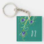 Art Deco Nouveau Style Peacock Feathers Swirl Single-Sided Square Acrylic Keychain