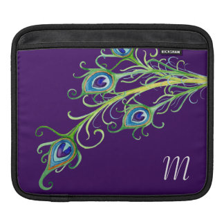 Art Deco Nouveau Style Peacock Feathers Swirl Sleeve For iPads
