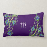 Art Deco Nouveau Style Peacock Feathers Swirl Throw Pillow