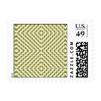 Art Deco Op Art - Yellow and Gray Postage Stamp