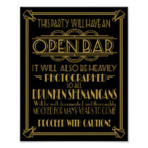 ART Deco Open bar sign for 1920's Gatsby Party