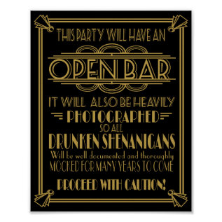 Art Deco Open Bar Sign For 1920's Gatsby Party at Zazzle