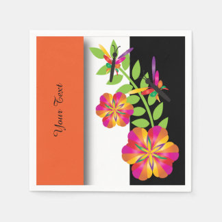 Art Deco Orange Floral Napkin