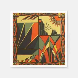 art deco orange napkin pack