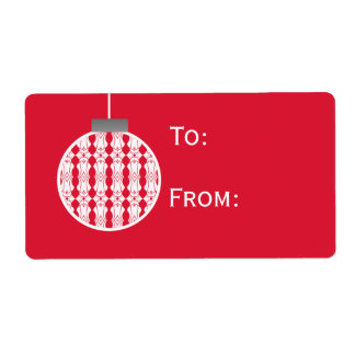 Art Deco Ornament Holiday Gift Tags, Bright Red Shipping Label