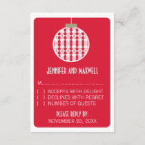 Art Deco Ornament Holiday Wedding RSVP Card, Red
