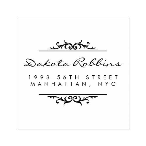 Art Deco Ornaments  Calligraphy Return Address Rubber Stamp