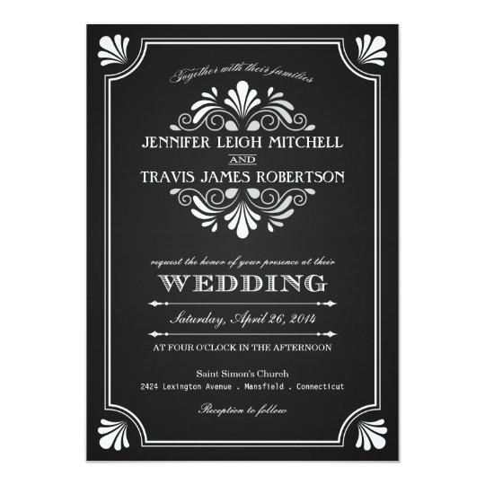 art deco ornate chalkboard wedding invitations - Chalkboard Wedding Invitations