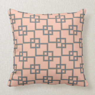 Art Deco Overlapping Squares LG - Pink and Gray Pillow