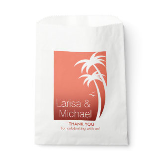 Art Deco Palm Trees Beach Wedding   coral white Favor Bag