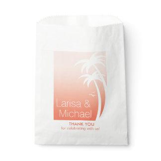 Art Deco Palm Trees Beach Wedding   peach Favor Bag