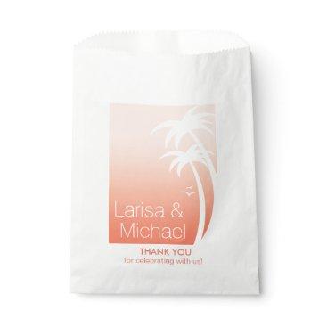 Beach Themed Art Deco Palm Trees Beach Wedding   peach Favor Bag