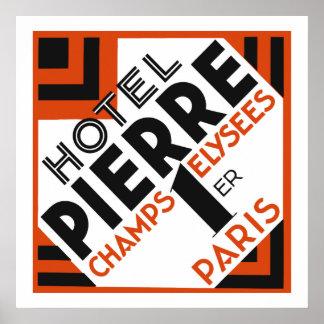Art Deco Paris French hotel label remake Poster
