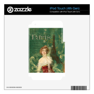 Art Deco Paris Woman with Bubbles Eiffel tower Skins For iPod Touch 4G