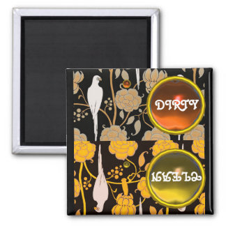 ART DECO PARROTS BROWN YELLOW FLOWERS  DIRTY CLEAN 2 INCH SQUARE MAGNET