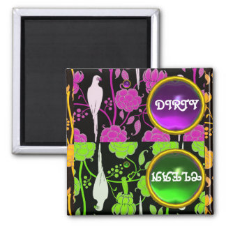 ART DECO PARROTS PURPLE GREEN FLOWERS  DIRTY CLEAN 2 INCH SQUARE MAGNET