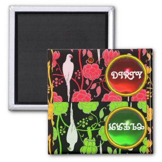 ART DECO PARROTS, RED GREEN FLOWERS  DIRTY CLEAN 2 INCH SQUARE MAGNET
