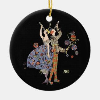 Art Deco Party Dancers Vintage Custom Dated Ceramic Ornament