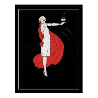 Art Deco Party Girl Vintage Postcard Postcard