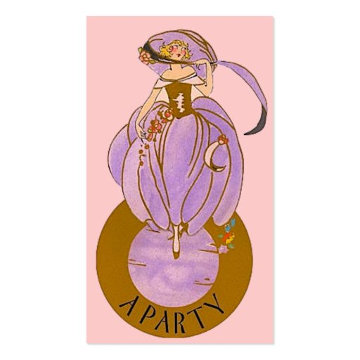 Art Deco Party Lady Gift or Favor Tag Business Card Template