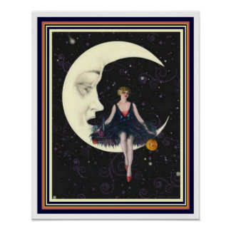 "Art Deco ""Party on the Moon""  16 x 20 Poster"